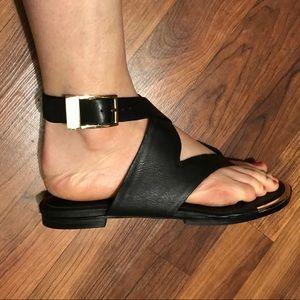 Calvin Klein double wrap leather sandals